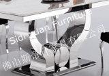 Tabella pranzante superiore di vetro dell'acciaio inossidabile dell'alta mobilia domestica moderna di lucentezza 2014 (SJ806)