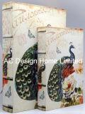 S/2 pájaros de primavera/lienzo de diseño de almacenamiento de la impresión de madera MDF cuadro Libro