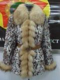 Les femmes manteau de fourrure de lapin avec Fox de la fourrure et le brassard avant (A-009)