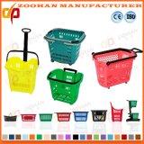 Le panier à provisions en plastique de supermarché de bonne qualité avec le roulement roule (Zhb79)