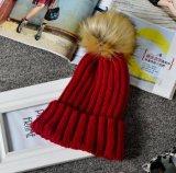 Ouder-kind Bal van het Haar van het Konijn van de Golfplaat van de Kleur van Kinderen breit de Stevige Imitatie Warme Hoed