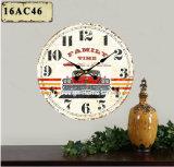 Vintage Décoration rouge Antique vieille voiture de la conception de l'autocollant de papier d'impression en bois MDF de l'horloge murale