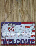 Route 66 Ontwerp maakt de Plaque van het Decor van de Muur van het Metaal van de Druk in reliëf