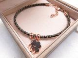 Pulsera simple de la nueva del diseño joyería de la manera en cuero con el colgante plateado oro del trébol de Rose