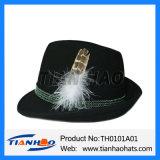 Handgemachter 100% Wolle-Filzfedora-Gebirgsalpiner Hut mit Seil