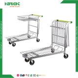 Chariot galvanisé de chariot à panier de Double couche d'entrepôt