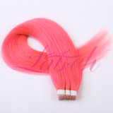 Heißes verkaufendes rosafarbene Farben-Jungfrau-menschliches Band in der Haar-Extension