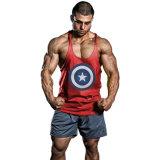 Het Mouwloos onderhemd van de Gymnastiek van mensen het Overhemd van Kapitein America Muscle Stringer Bodybuilding Geschiktheid
