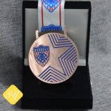 Factory Custom Metal Corner Sports Metal Gold Medal Ribbon