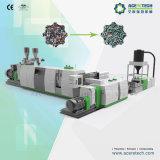 Reciclaje de plástico de alto rendimiento y sistema de peletización para copos / rebabas aplastados