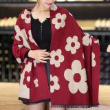花の印刷の冬の暖かい厚く編まれた編まれたショールのスカーフ(SP265)のような女性のアクリルの可逆カシミヤ織