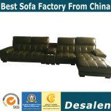 Muebles modernos de sección en forma de L sofá de cuero auténtico (A848)