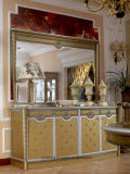 0016金カラー古典的な高貴な様式のダイニングテーブルおよび椅子