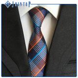 Cravate de plaid en stock, cravate tissée de polyester pour les hommes