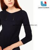 여자를 위한 유행 진한 파란색 긴 소매 뜨개질을 하는 의복