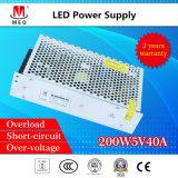 40A 5V 200W SMPS À COMMUTATION DE AC DC à sortie simple d'alimentation LED