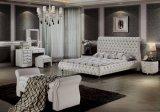 Королевский стиль классической верхняя кровать из натуральной кожи для спальни