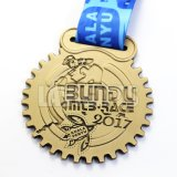 Медаль пожалования спорта металла логоса Jubo пустого золота сувенира 3D чемпиона изготовленный на заказ с тесемкой держателя голубой