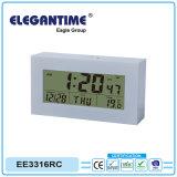 Relógio controlado por rádio com um grande display LCD digital de tempo, Data de temperatura e humidade