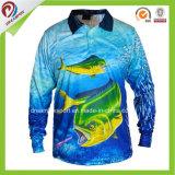 Spätestes Entwurfs-langes Hülsen-Fischen-Jersey-Polyester 100% kundenspezifisches Farben-Sublimation-Fischen, das Großhandelsfischen-Hemden kleidet
