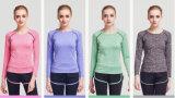 T-shirt longo do golfe da camisa do futebol da aptidão da luva das mulheres secas de Qucik