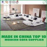 Sofá de canto de couro de madeira da mobília moderna genuína elegante