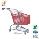 Pl180um plástico e aço Carrinho de Compras de supermercado, 180L, Revestimento a pó
