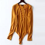 V-Cuello atractivo de la nueva manera del resorte con una camisa Long-Sleeved del mono largo de la funda de señoras