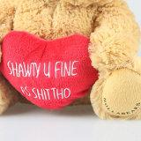 Urso peludo da peluche do luxuoso macio com os presentes relativos à promoção do Valentim vermelho do coração
