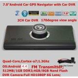 """7.0 """" cámara de rectángulo negro privada caliente del coche de HD 1080P con el coche androide DVR, G-Sensor, visión nocturna, video de WiFi GPS Bluetooth de Digitaces de la rociada del coche del control que estaciona"""