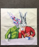ホーム装飾の概要のキャンバスの芸術の絵画ウサギ動物の油絵