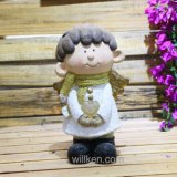 Beeldje van het Huis van de magnesia het Mini en van de Gnoom van het Meisje van de Decoratie van de Tuin