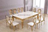 10 povos marmoreiam a tabela de jantar dourada do aço inoxidável do espelho superior