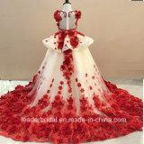 Les filles de Champagne rouge dentelle robe de bal de la flore de perles robes fille fleur B1518