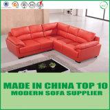 China moderna fabrica el sofá de la esquina del cuero del amortiguador de la pluma