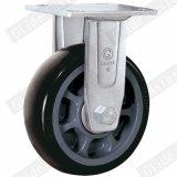 Hochleistungs-PU-örtlich festgelegte Fußrolle (Schwarzes) (runde Oberfläche)