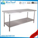 Ajustable de acero inoxidable Industrial Hotel tubo redondo de mesa de trabajo de tipo buffet con la barra de refuerzo