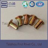 klinknagel van het Staal van de Kleur van het Zink van 6X12mm de Gele Vlakke Hoofd Semi Tubulaire