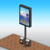 Stad Openbare Openlucht Tweezijdige Lightbox Mupi met Trashcan
