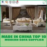 Muebles de madera de lujo clásico salón sofá de cuero