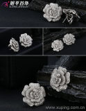 Die 28420 Form-Inrhodium-Überzog Luxuxhochzeits-Schmucksachenzircon-Blumen-Ohrring