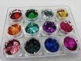 مستطيل شكل ليزر تلألؤ لأنّ مسمار فنّ ومسمار جميل لؤلؤة لون [سري] 12 ألوان في [1ست]