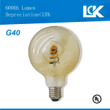 Nueva bombilla espiral retra del filamento LED de CRI90 6W 500lm G40