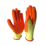 Puncture-Proof orange et jaune Latex Gants ondulée