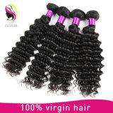 Commerce de gros bon marché vierge vague profonde brésilien de l'extension de cheveux humains