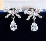 CZ Куб в раскрывающемся списке обедненной смеси Diamond Циркон Серебряные серьги