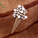 Heißer Verkaufs-Retro persönliche eingelegte Perlen-und Rhinestone-Eis-Sahne-Geformte Legierungs-Brosche