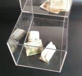 Cuadro de la caridad acrílico transparente con cerradura y titular de caramelo