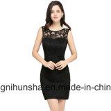 Sexy Black Lace vestido de noite sem mangas do bocal de Mini vestidos de festa