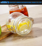 frasco de vidro redondo do armazenamento da parte superior do grampo 500ml para o mel